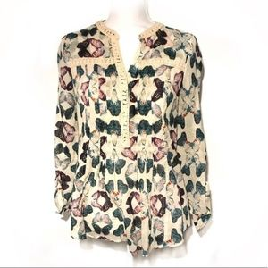 Anthro Maeve Abella pin tuck butterfly top